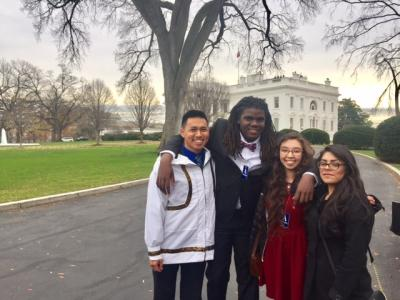 Fresh Tracks at the White House: (From left to right) 2016 Fresh Tracks participants, Essau Shinook (Shishmaref, AK), Jared Savage (Compton, CA), Kimberly Pincok (Barrow, AK), and Stephanie Carrasco (Compton, CA)